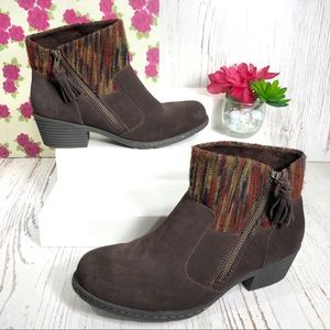 NWOT B.O.C. brown suede & knit heeled ankle boots